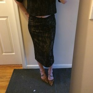 Leith black w gold skirt BNWT. Marching top free
