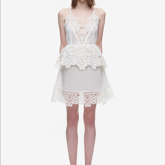 a2e86f80d77fe Self-Portrait Dresses | Self Portrait Lace Trimmed Peplum Dress ...