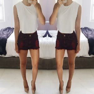 Tinseltown Pants - • Burgundy Denim Shorts •