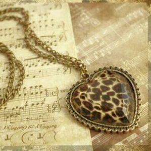 Jewelry - ANTIQUE BRONZE LEOPARD HEART NECKLACE