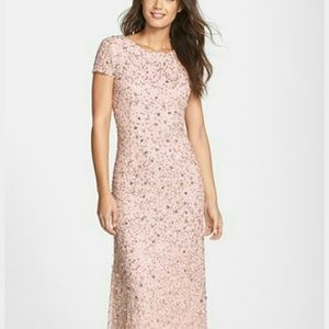 ADRIANNA PAPPELL BLUSH SEQUIN GOWN