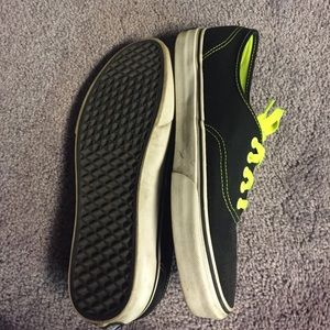 7b016e55bcb Vans Shoes - Black with neon yellow lace Vans