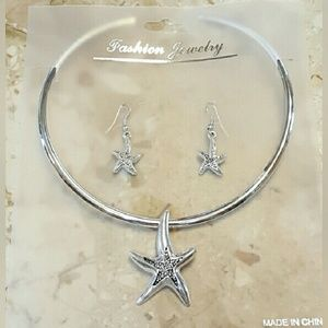 Jewelry - Silver plated Necklace & Earrings Set Starfish