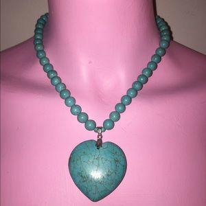 Blue Aqua Turquoise Stone Beaded Heart Necklace