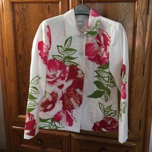 Chico's Jackets & Blazers - 💥FINAL💥White Floral Blazer/Jacket