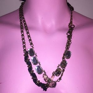 Black rope ribbon gold chain statement necklace