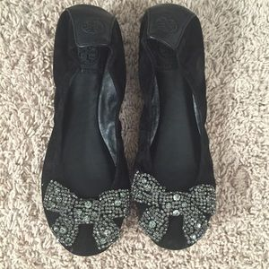 Tory Burch black suede bow flats