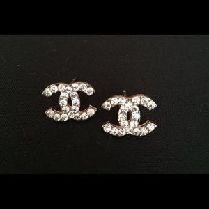 Gold Chanel Bling c designer logo initial earrings