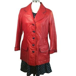 Mod Firecracker Red Navy Blue Trim Leather Coat M