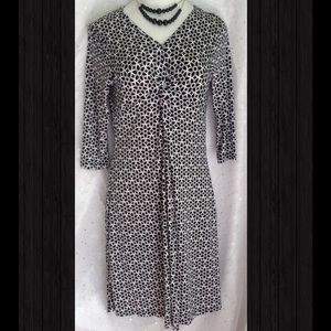 Susan Lawrence Black Geo/Floral Print Dress Medium