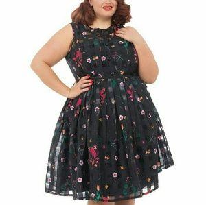 Voodoo Vixen Dresses & Skirts - VOODOO VIXEN ORGANZA WINDOWPANE FLORAL PLUS SIZE