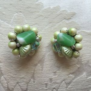 Jewelry - Vtg Frosted Line Green Art Glass 1950s Earrings