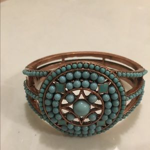 Anthropologie Jewelry - Anthropologie Copper & Turquoise Bangle