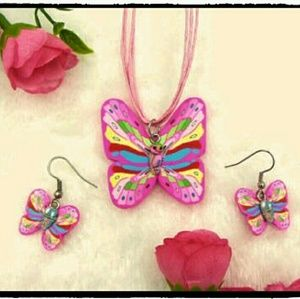 Jewelry - Fimo Clay Silk Necklace and Earring Set