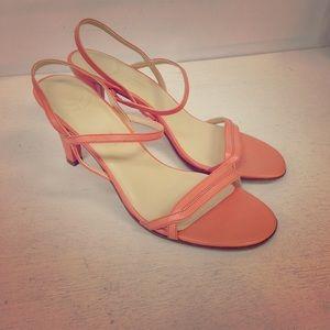 Casual Corner Peach Strappy Heels EUC Leather 8M