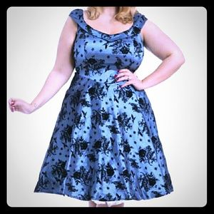 Voodoo Vixen Dresses & Skirts - Voodoo Vixen Blue 40s Floral Skater plus  dress