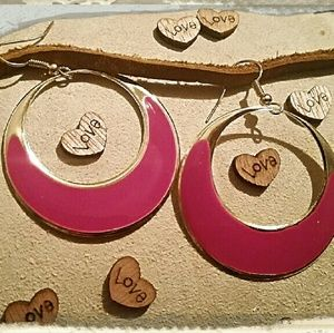 Jewelry - Elegant Pink Enameled Gold Tone Circle Earrings  ?