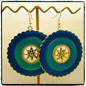 Jewelry - Boho Blue Enameled Gold Tone Round Dangle Earrings