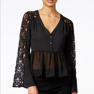 Bar III Tops - Bar ||| Lace contrast baby doll blouse👧