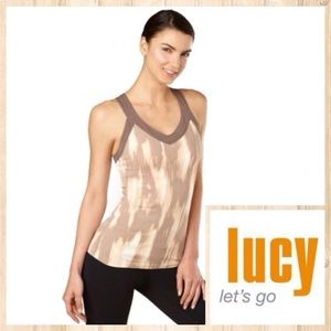 Lucy Tops - NEW!  Lucy Soul yoga v-neck tank in tan/ecru combo