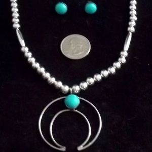 SOUTHWEST TURQUOISE NAJA NECKLACE & EARRINGS NEW