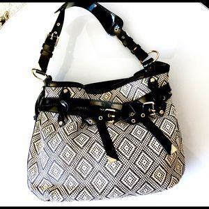Francesco Biasia Handbags - Francesco Biasia Raffia belted patent leather bag