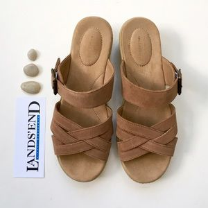 Lands End Shoes - Lands' End Suede Strappy Slide Sandals
