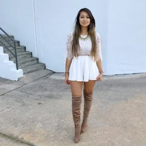 ☆ White Cutout Lace Romper