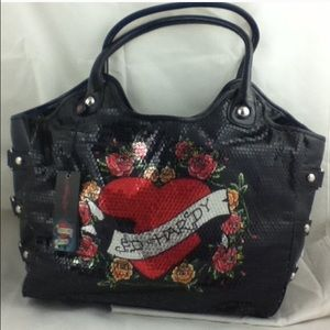 **RARE** ED HARDY SEQUINED TOTE