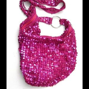 Handbags - Shimmering Hot Pink Shoulder / Crossbody Bag