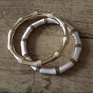 Two bangles, white and gold
