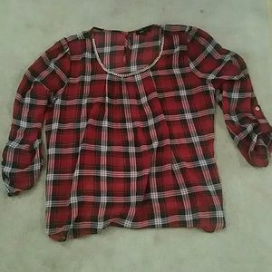 Red Long Sleeve Plaid Top