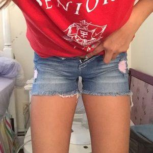 trendy pink-rip thread jean shorts