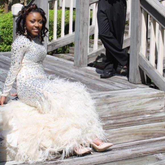 Dresses Ivory Feathered Bottom Prom Dress Only Worn Once Poshmark