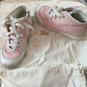 Kids pink high top Gucci sneakers