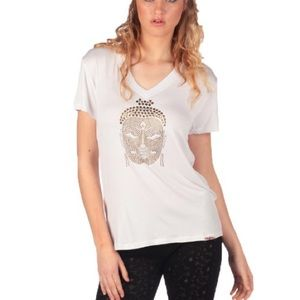 Kings of Cole Tops - KINGS OF COLE white v neck tshirt w/ gold studs