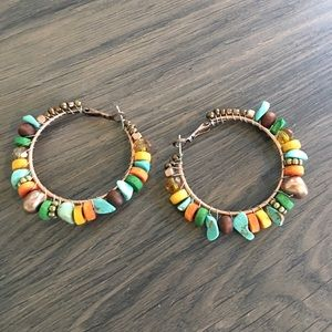 Independent Designer  Jewelry - 🛍 Multi Colored Stone Hoop Earrings