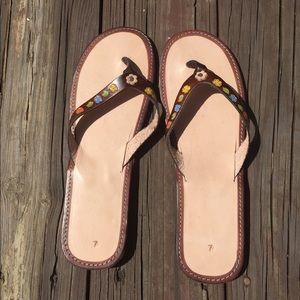 Shoes - Leather floral sandals