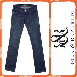 ROCK & REPUBLIC Low Rise Dark Straight Leg Jeans