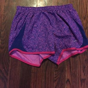 Purple and blue nike shorts