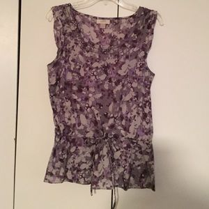 Cotton drawstring peplum cap sleeve blouse