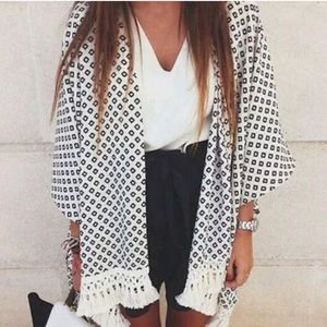 Black white trim tribal kimono coverup cardigan