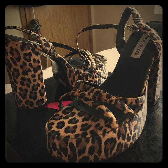 32bc88645f9a4 LikeNEW Steve Madden Twinkle Leopard Sandal Heels.  M 57631aa8ea3f369f2b0009d7