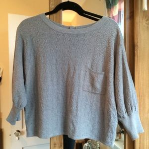Forever 21: 3/4 Length Sleeve, Gray Print Crop Top
