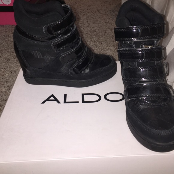 ALDO Shoes - Aldo Velcro black sneaker wedge