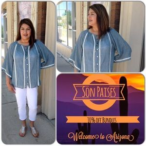WAPI for Plus Tops - Chambray Top