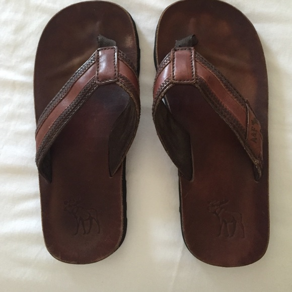 3a3c1988b56 Abercrombie   Fitch Other - Men s Abercrombie   Fitch brown leather flip  flops
