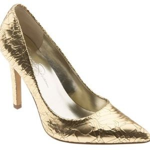 ✨HP✨ Jessica Simpson Gold Foil 'Nolita' Pumps