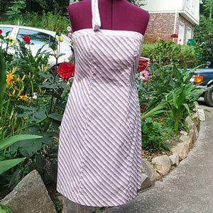 Strapless multicolor diagonal stripe dress
