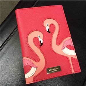 NWT Kate Spade passport cover wallet Flamingos